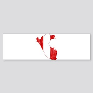 Peru Flag And Map Sticker (Bumper)