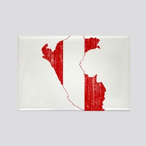 Peru Flag And Map Rectangle Magnet