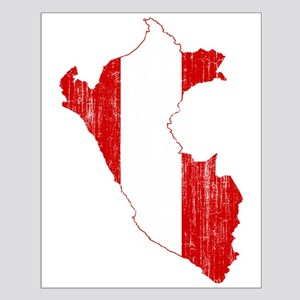 Peru Flag And Map Small Poster