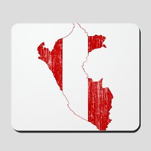 Peru Flag And Map Mousepad