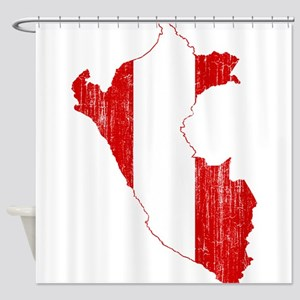 Peru Flag And Map Shower Curtain