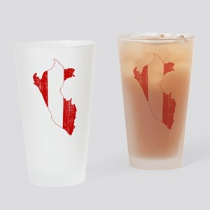 Peru Flag And Map Drinking Glass