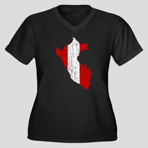 Peru Flag And Map Women's Plus Size V-Neck Dark T-