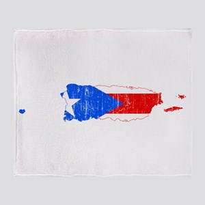 Puerto Rico Flag And Map Throw Blanket