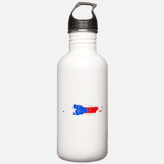 Puerto Rico Flag And Map Water Bottle