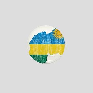 Rwanda Flag And Map Mini Button