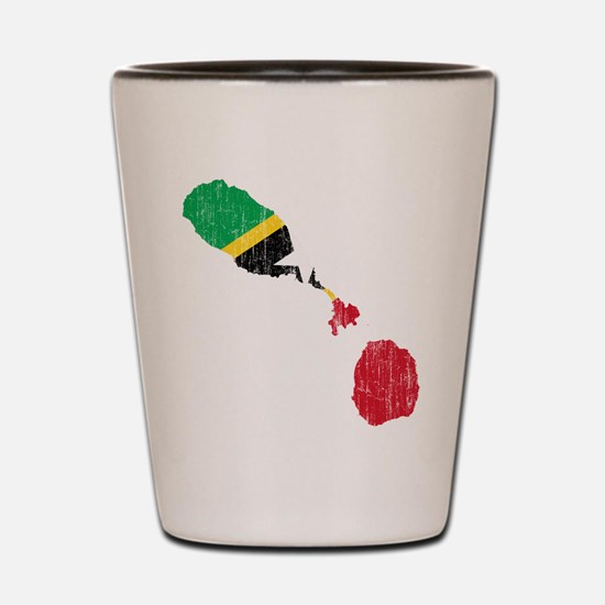 Saint Kitts And Nevis Flag And Map Shot Glass