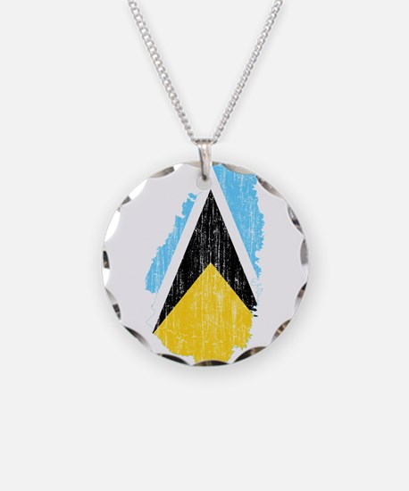 Saint Lucia Flag And Map Necklace
