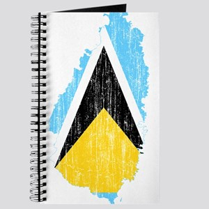 Saint Lucia Flag And Map Journal