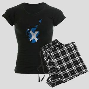 Scotland Flag And Map Women's Dark Pajamas