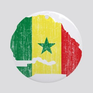 Senegal Flag And Map Ornament (Round)