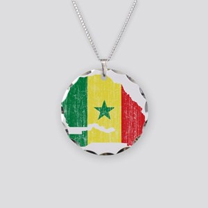 Senegal Flag And Map Necklace Circle Charm