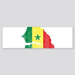 Senegal Flag And Map Sticker (Bumper)