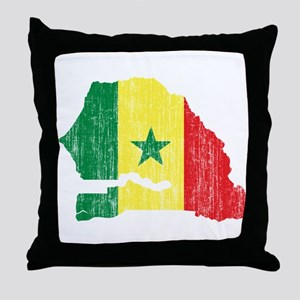 Senegal Flag And Map Throw Pillow