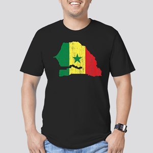 Senegal Flag And Map Men's Fitted T-Shirt (dark)