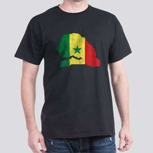 Senegal Flag And Map Dark T-Shirt