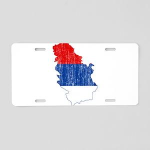 Serbia Civil Ensign Flag And Map Aluminum License