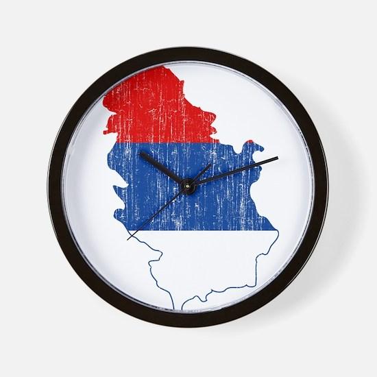 Serbia Civil Ensign Flag And Map Wall Clock