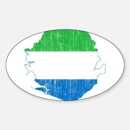 Sierra Leone Flag And Map Sticker (Oval)