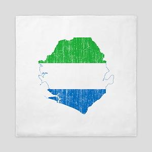 Sierra Leone Flag And Map Queen Duvet