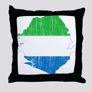 Sierra Leone Flag And Map Throw Pillow