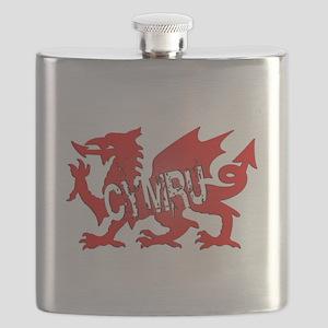 CYMRU DRAGON RED PLASTIC BLACK SHADOW Flask