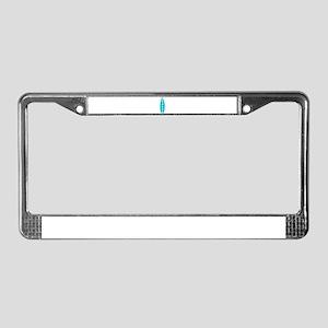Aqua Hibiscus Surfboard License Plate Frame