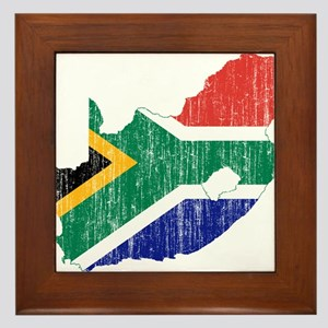 South Africa Flag And Map Framed Tile