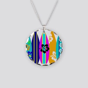 Surfboards Necklace Circle Charm