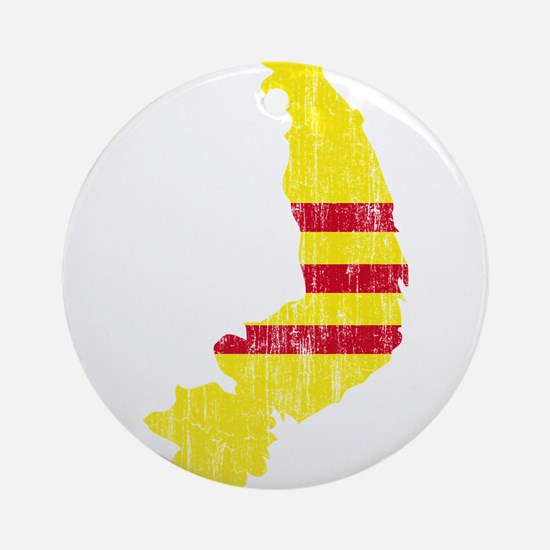 South Vietnam Flag And Map Ornament (Round)