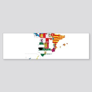 Spain Subdivisions Flag And Map Sticker (Bumper)