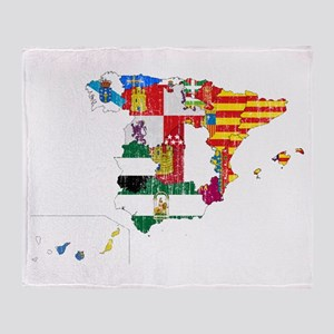 Spain Subdivisions Flag And Map Throw Blanket