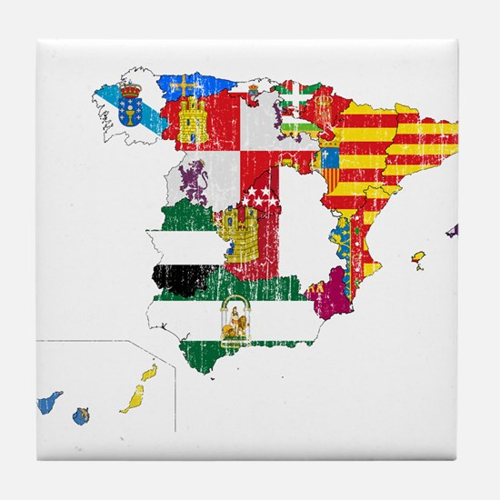 Spain Subdivisions Flag And Map Tile Coaster