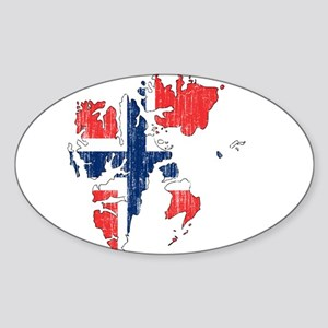 Norway Flag And Map Sticker (Oval)
