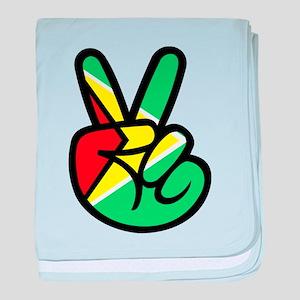 Guyana Peace & Love T-shirt baby blanket