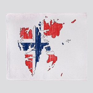 Norway Flag And Map Throw Blanket