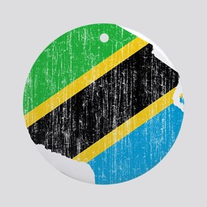 Tanzania Flag And Map Ornament (Round)