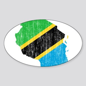 Tanzania Flag And Map Sticker (Oval)