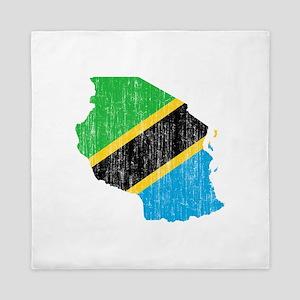 Tanzania Flag And Map Queen Duvet