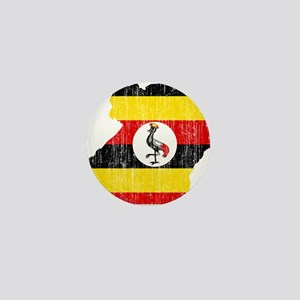 Uganda Flag And Map Mini Button
