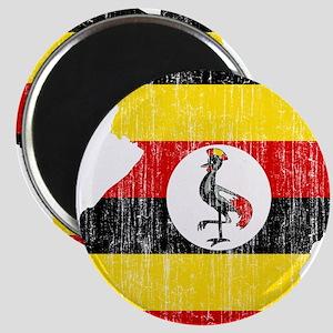 Uganda Flag And Map Magnet