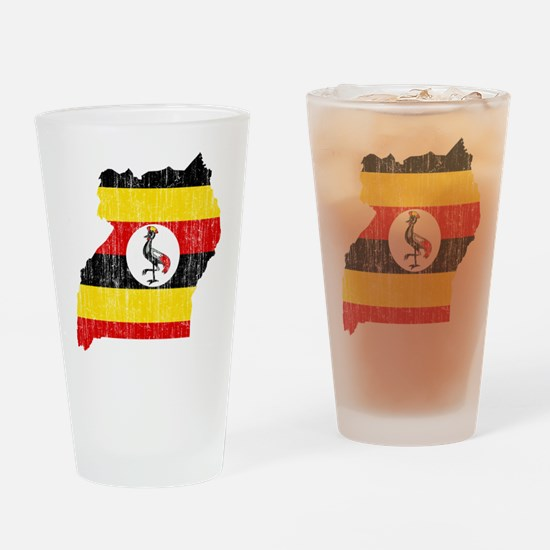 Uganda Flag And Map Drinking Glass