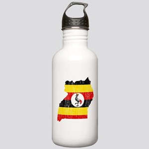 Uganda Flag And Map Stainless Water Bottle 1.0L