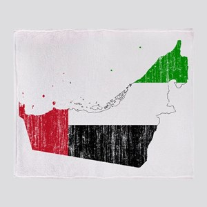 United Arab Emirates Flag And Map Throw Blanket