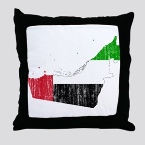 United Arab Emirates Flag And Map Throw Pillow