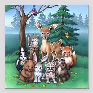 "Forest Family Square Car Magnet 3"" x 3"""