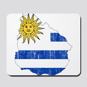 Uruguay Flag And Map Mousepad