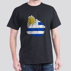 Uruguay Flag And Map Dark T-Shirt
