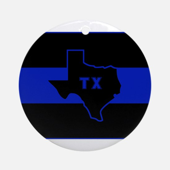 Thin Blue Line - Texas Ornament (Round)