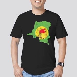 Zaire Flag And Map Men's Fitted T-Shirt (dark)
